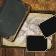 Royalty-Free Stock Photo: Vintage map and photo frames