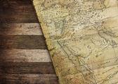 Vintage map on wood — Stock Photo
