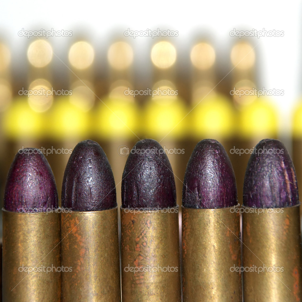 Rows of various pistol ammo  Stock Photo #2305972