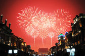 Fireworks and ancient buildin in beijing — Stock Photo