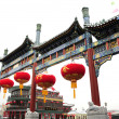 Chinese building with lantern - Stock Photo
