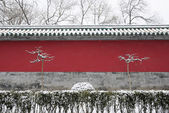 Red wall of forbidden city after snow — Stock Photo