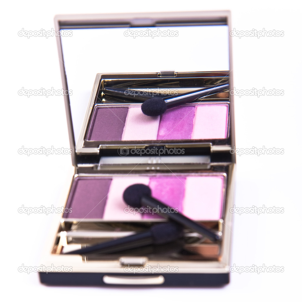 Eyeshadows set with brush on white background  Stock Photo #2096944