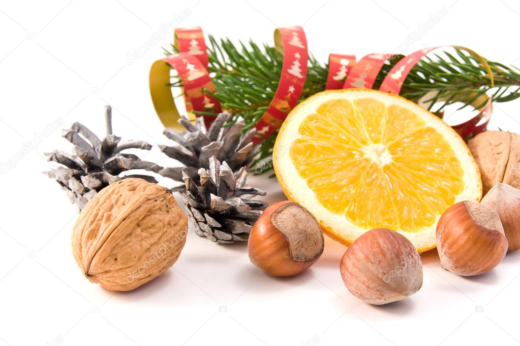 Christmas decoration with orange and nuts  Stock Photo #2097087