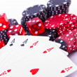 Royalty-Free Stock Photo: Aces, dice and poker chips
