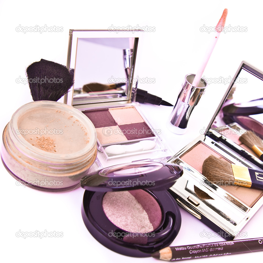 Makeup collection on white background — Stok fotoğraf #2280716