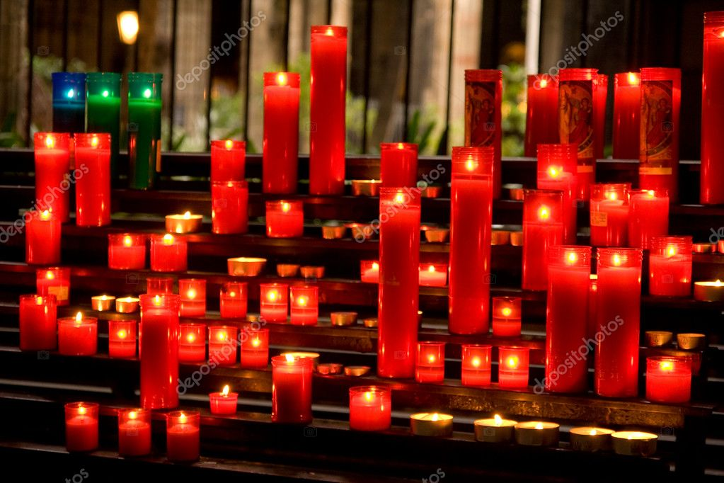 Glowing candles on dark background  Stock Photo #2322960