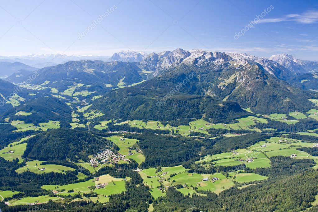 A view from the top of the alpine peak in the summertime — Stock Photo #2453359