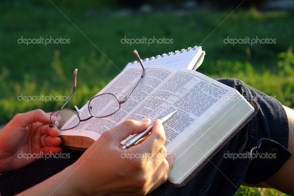 A view with a female person reading a bible in a park                               — 图库照片 #2097109