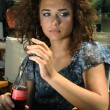 Beautiful girl with soda - Stock Photo