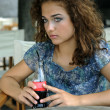 Beautiful girl with soda - Stok fotoğraf