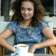 Beautiful girl with coffee - Stok fotoğraf