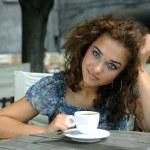 Beautiful girl with coffee — Stock Photo #2243702