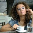 Stock Photo: Beautiful girl with coffee