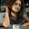Beautiful girl with coffee — Stock Photo