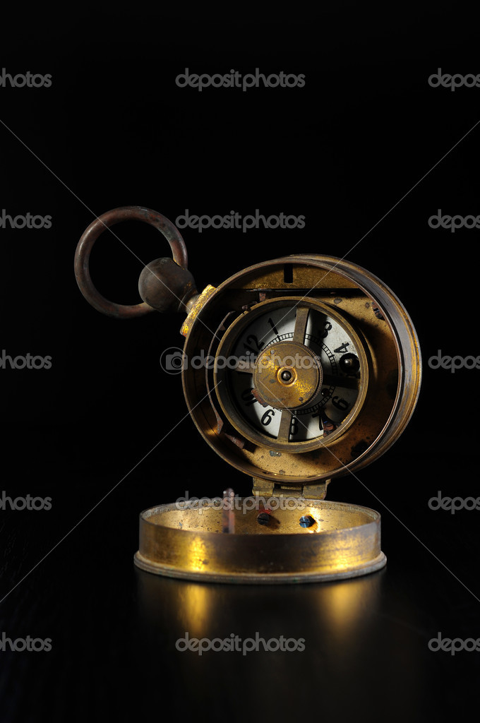 Old alarm clock over black — Stock Photo #2247531