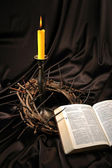 Bible and crown of thorns — Stock Photo