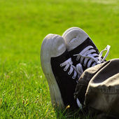 Shoes on grass — Stock Photo