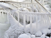 Fantastic lanscape; nice white snowy icicle; bac — Stock Photo