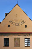 Sundial on the wall old building — Foto de Stock