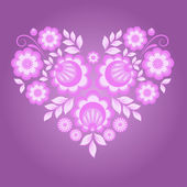 Pink floral heart — Stock Vector