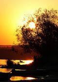 Sunset in Volga — Stock Photo