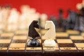 Chess knights' fight — Stock Photo