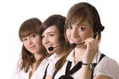 Happy call center employees with headset — Stock Photo