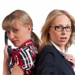 Stock Photo: Two young cute business women