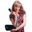 Young caucasian woman with office phone — Stock Photo