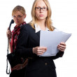 Two young cute business women — Stock Photo