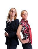 Two young cute business women — Stock Photo