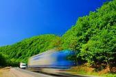 Heavy truck, motion blur — Stock Photo