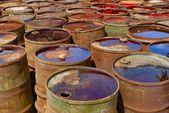 Old rusty toxic barrels — Stock Photo