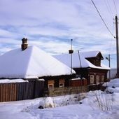 Russian village in winter — Stock Photo