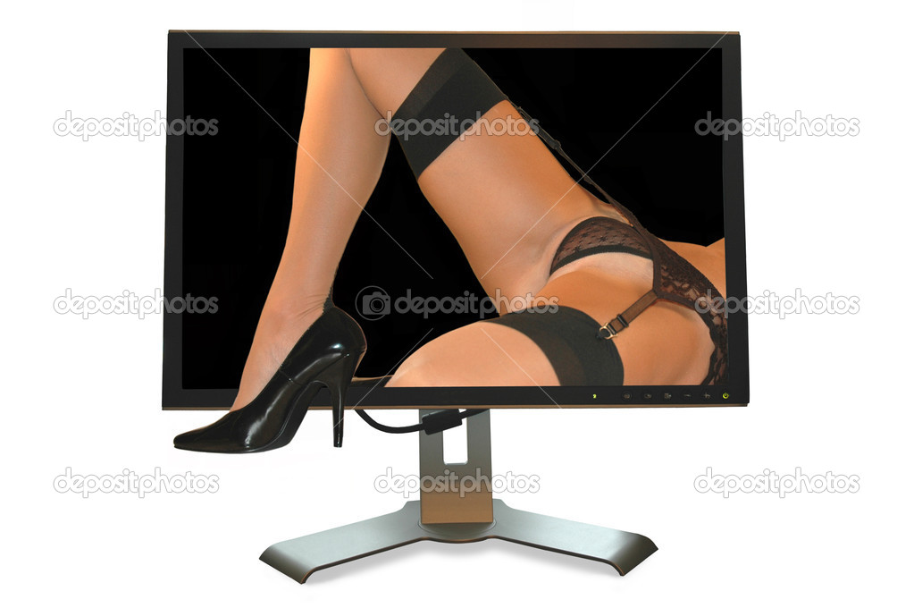 Computer monitor with female legs coming out. — Stock Photo #2544602