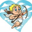 Flying Cupid Cartoon - Stok Vektör