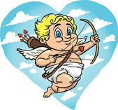 Flying Cupid Cartoon — Stock Vector