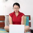 Working with a laptop — Stock Photo