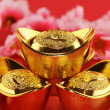 Traditional chinese gold ingots — Stock Photo