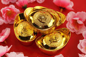 Traditional chinese gold ingots — 图库照片