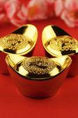 čínské zlaté ingoty — Stock fotografie