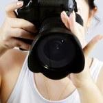 Female photographer — Stock Photo