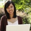 Foto Stock: College Student with Laptop
