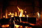 Beautiful fire on coals — Stock Photo
