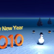 Happy New Year with snowman — Stock Photo