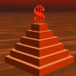 Red dollar on a pyramid in desert — Stock Photo