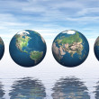 Stock Photo: Continents on four earth