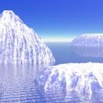 Three icebergs in ocean — Stock Photo