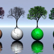 Four colored trees and earth on water — Stock Photo